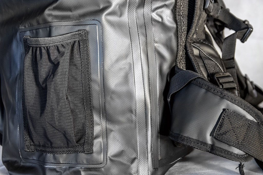 Welded seams on a waterproof motorbike backpack
