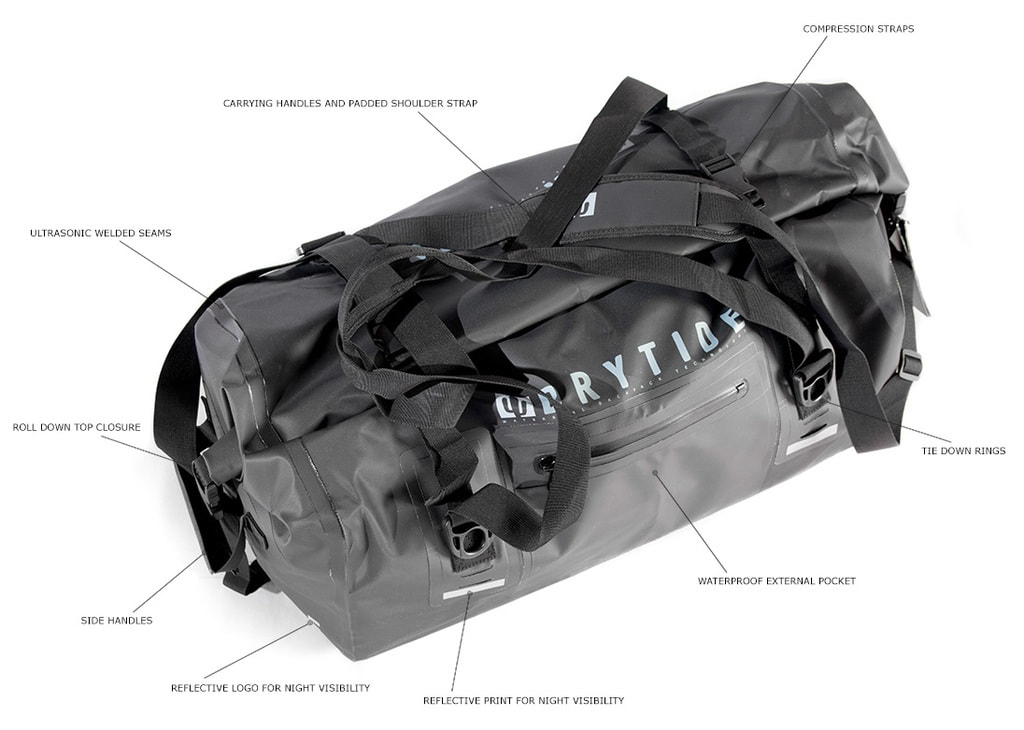 Waterproof duffel bag features
