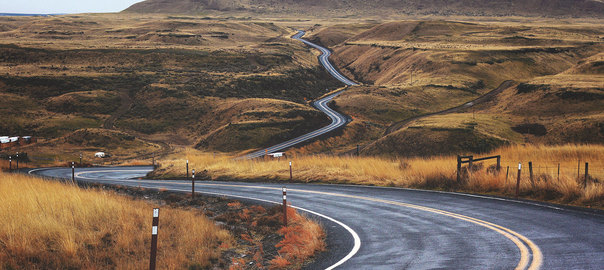 Motorbike perfect road winding through landscape