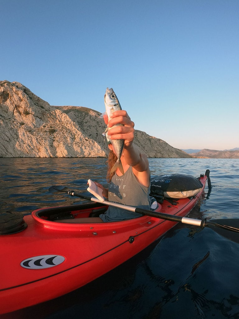 Fishing from sea kayak.
