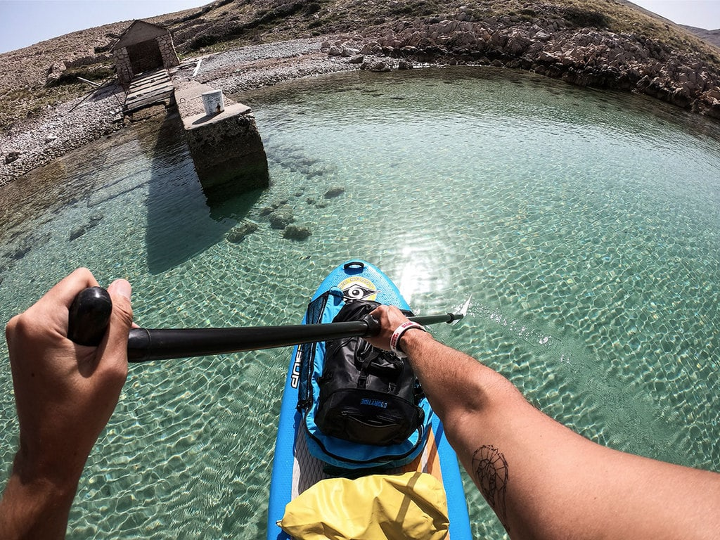 Protected bay on an island from a sup board