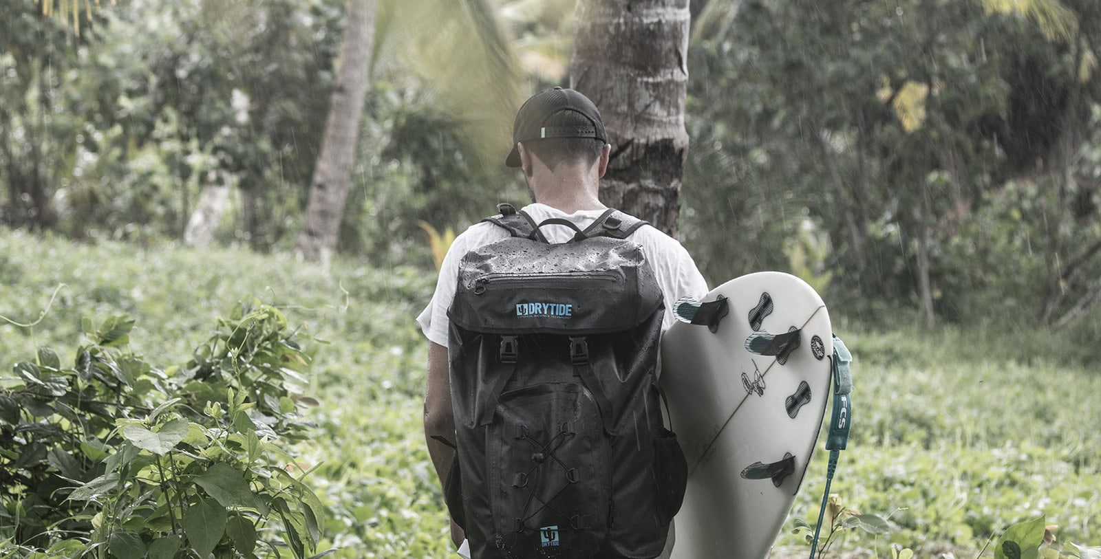 surfer with waterproof backpack