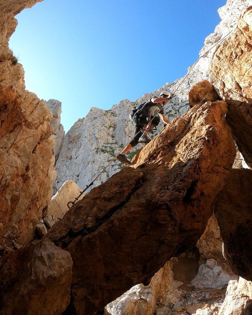Climbing up a rock